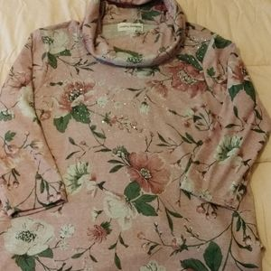 NWT Floral Sweater with Rhinestones